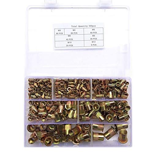 300 Stück Nietmuttern Blindnietmuttern Einnietmuttern Sortiment Set M3 M4 M5 M6 M8 M10 M12