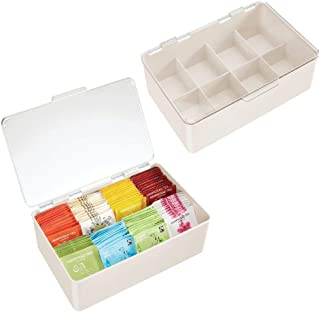 mDesign boîte à thé à Couvercle pour Le Placard (Lot de 2) – Rangement thé à 8 Compartiments en Plastique – boîte de Range...