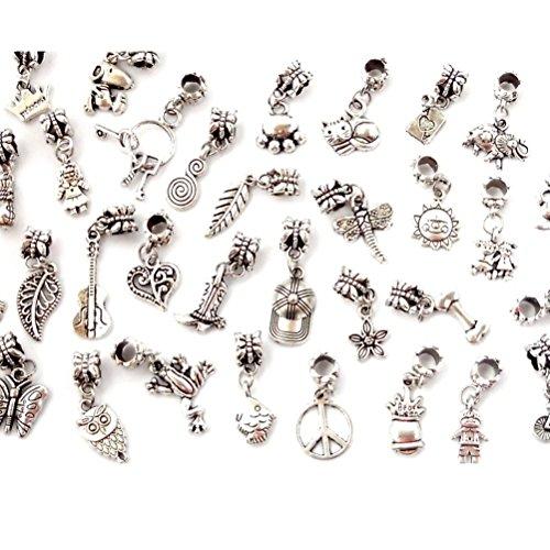 DeliaWinterfel Set da 20 Perline Tibetane Placcate in Argento per Bracciale by