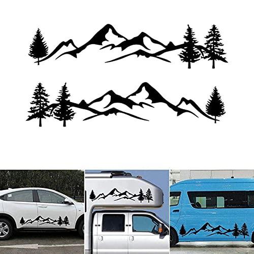 Aizhen 1 par/2 unids coche adhesivo reflectante montaña árbol bosque vinilo gráfico kit para camper RV Remolque puerta panel pegatinas parachoques para coche etiqueta lateral
