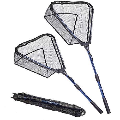 SF Red de aterrizaje de pesca plegable extensible con mango telescópico de malla de goma plegable para trucha de pesca de kayak, tamaño grande