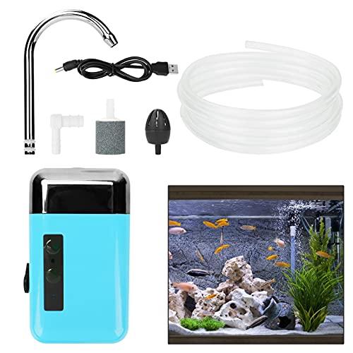 Ossigenatore per Acquario con pompaggio Upkey Pompa d'Aria per Acquario con Luce LED Mini Pompa Aria Pompa Acquario con Dispositivo Filtro Air Stone per Illuminazione Marina da Pesca All'aperto