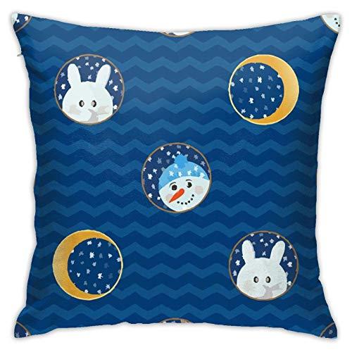 Gokruati Fundas para Cojines Luna Animal Funda de cojín con impresión clásica de algodón Suave y poliéster 45 * 45 cm