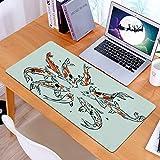 Alfombrilla Ratón Grande Gaming Mouse Dibujo Carpas Japón Dibujado Koi Chino Animales Naturaleza Asia Peces Fauna Silvestre,Base de Goma, Portátil, Ordenador