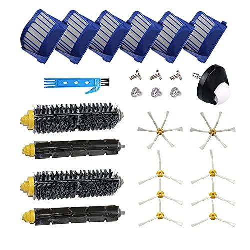 Kit de accesorios para iRobot Roomba serie 500 600 Aspiradora de repuesto 529 550 595 620 625 630 650 660 670 Cepillo principal Filtro Hepa Cepillo lateral Rueda