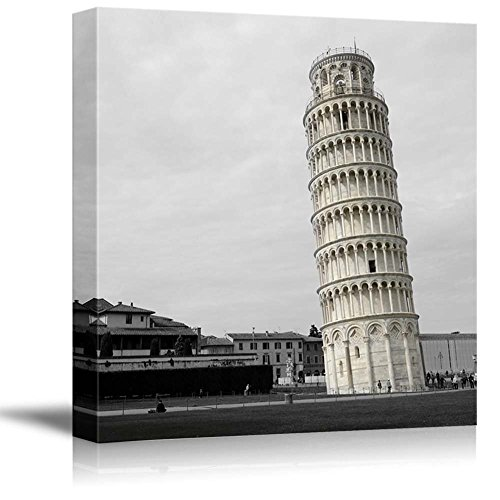 wall26 Black and White Photograph of Rome with Pop of Color on The Leaning Tower of Pisa - Canvas Art Home Decor - 16x16 inches