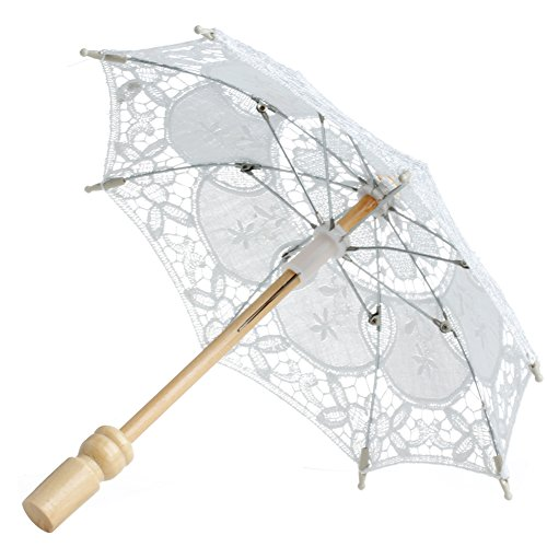 Peachshop Lace Embroidered Parasol Umbrella for Bridal Wedding Party Cosplay (White)