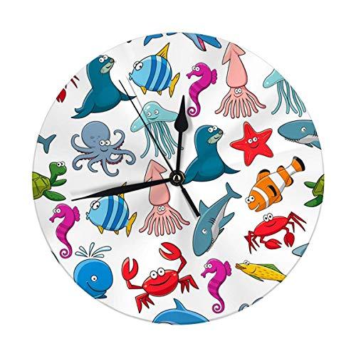 Meili Shop Orologio da Parete Moderno Grandi Pesci e Animali marini oceanici di Pesci Pagliaccio foca o Delfino Grande Orologio Rotondo