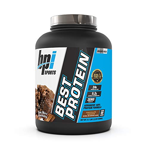 BPI Sports Best Protein, 100% Whey Blend, Muscle Growth, Recovery, Meal Replacement, No Maltodextrin, No Fillers, Gluten Free, for Men & Women, Chocolate Brownie, 5.1 Pound, 81.6 Ounce
