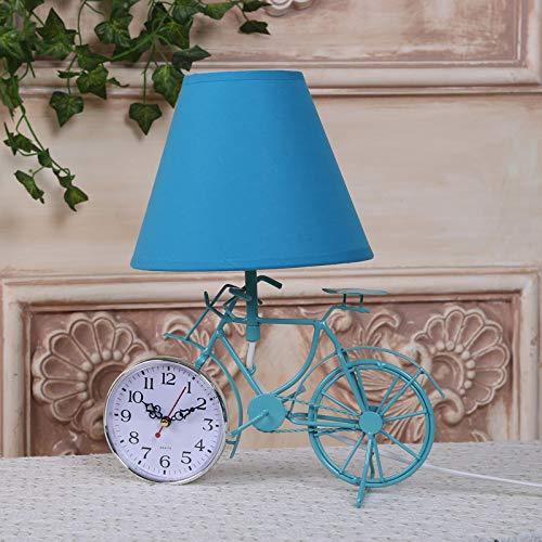 Stof lampenkap, creatief, handwerk, klok, fiets, decoratie, tafellamp, lampen, slaapkamer, nachtlampje, lamp, EU-stekker, 35 x 23 x 30 cm