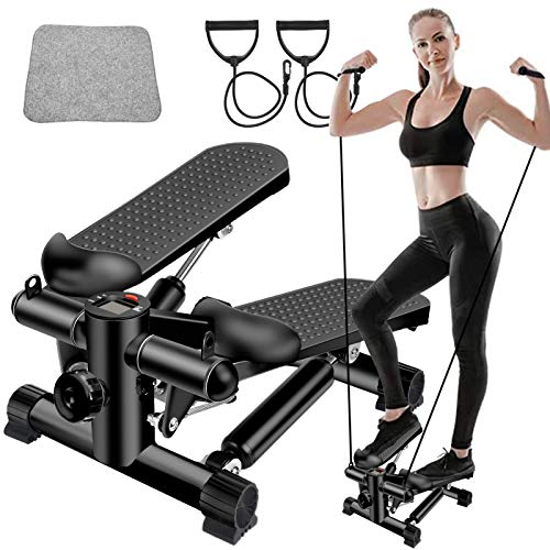 BSET BUY Mini Stepper,Twister Stepper mit Power Ropes,Stepper für Zuhause,Step Fitnessgeräte Verstellbare Treppenstufe LCD-Display Fitness-Trainingsgerät Indoor Workout