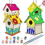 Nichoir en Bois Bricolage ,4 Pièce Maison D'oiseau Peindre Jouet Kit,Maison oiseau enfant,Maison oiseau bois a peindre,Enfant Construire Maison Oiseau en Bois,DIY Nid D'oiseau en Bois (4pcs)