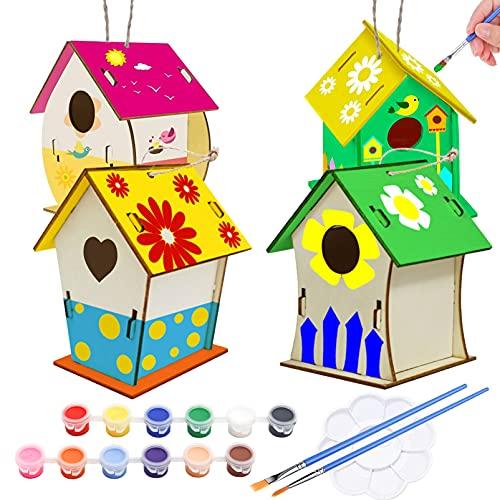 Holz Vogelhaus Bausatz,4 Stück DIY Kinder Holz Vogelhaus, Kinder Vogelhaus Bemalen Kit,Kunst hängendes Vogelhaus-Set,Enthalten 12 Farben, Malpalette und 2 Pinsel