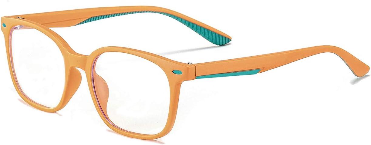 MAXJULI Kids Blue Light Blocking Glasses - Anti Eyestrain - Video Computer Gaming Eyeglasses for Boys & Girls - TR90 Square Flexible with Rivets Frame Eye Glasses(Orange)
