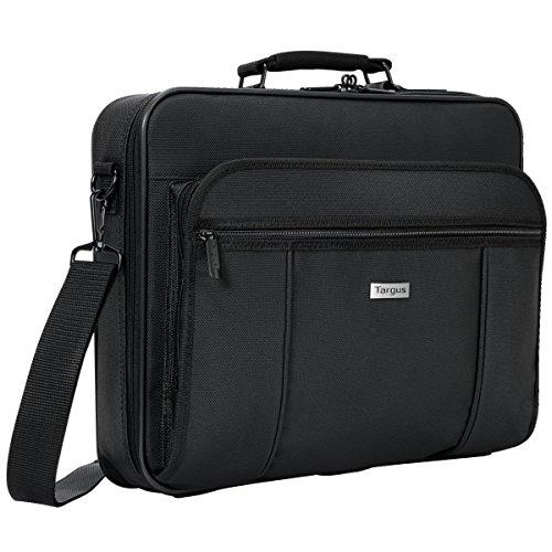Targus Premiere Laptop Case, Protective Business Travel Design with Front Pocket, Removable Shoulder Strap, File Section, Trolley Strap, Padded Sleeve fits 15.4-Inch Laptop, Black (TVR300)