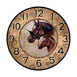 EnjoyHome Horses Wooden Clocks for Walls French Style for Kids Bedroom Kitchen Living Room 12 inch