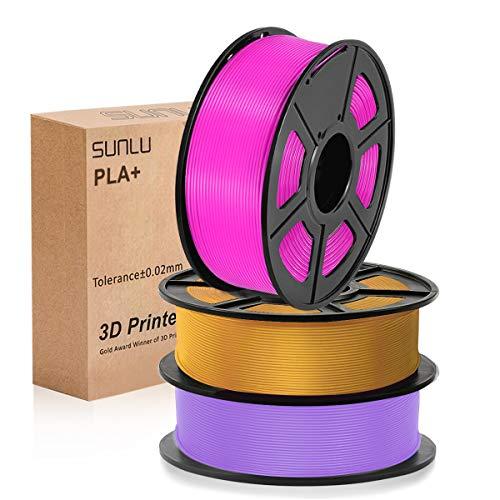 PLA Filament 1.75mm, SUNLU PLA Plus Filament for 3D Printer, Dimensional Accuracy +/- 0.02 mm, PLA+ Purple + Fuchsia + Coffee 1KG