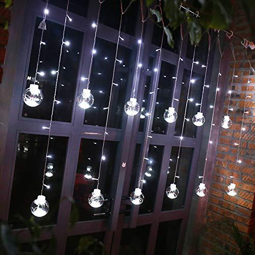 Hihey kerstverlichting buiten lichtgordijn sterrengordijn 8 modi binnen & buiten lichtsnoer decoratie voor kerstmis decoratie party feesten EU wit