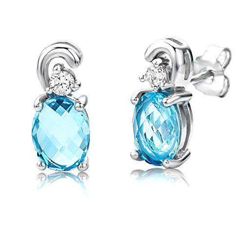 ByJoy damesoorstekers, 925 sterling zilver, ovaal geslepen, blauw