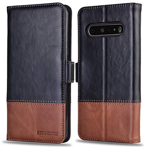 KEZiHOME LG V60 ThinQ Hülle, Echtleder [RFID-blockierend] LG V60 ThinQ 5G Brieftaschen-Schutzhülle mit Kartenfach, Standhalter, Magnetverschluss für LG V60 ThinQ 2020, schwarz/braun