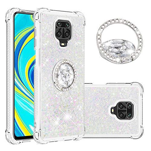 SEEYA Funda Glitter Líquido para Xiaomi Redmi Note 9 Pro Carcasa con Anillo Diamante Silicona Transparente Brillante Cristal Caso Gel Suave Flexible y Ligera Cover Diseño Corazón Blanca