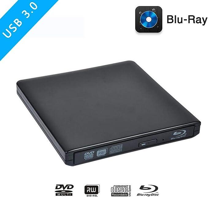 FWec Grabador de Blu-ray USB 3.0 Blu ray Unidad /Óptica Externa BD-RE CD//DVD RW Writer Reproducir 3D 4K Blu-ray Disco para Ordenador Windows7//8//10.