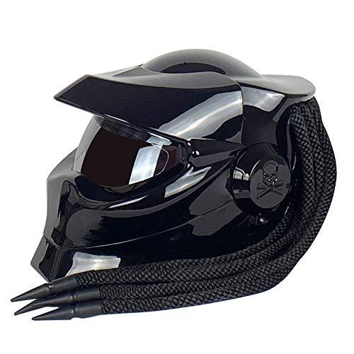 ZJRA Predator Helmet, Casque de Moto pour découvreurs de Moto, approuvé par Le Dot, Cheveux tressés, Casque de Motocross pour Le Visage décontracté et Ouvert, Del,XL61~62cm