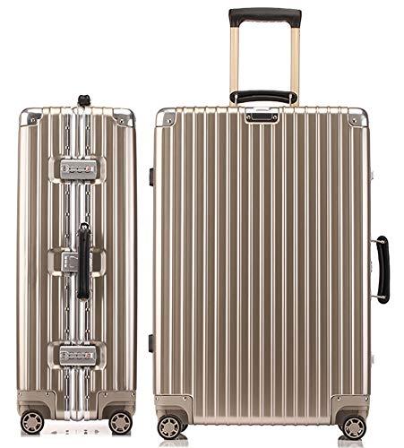 lanbao スーツケース アルミフレーム 軽量 キャリーケース 耐衝撃 キャリーケース 機内持込 キャリーバッグ 人気 大型 TSAロック付 静音 旅行出張 ヘアライン仕上げ 3年保証 (S, シャンパンゴールド)