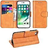 Adicase iPhone 7 Hülle Leder Wallet Tasche Flip Case Handyhülle Schutzhülle für Apple iPhone 7/8 4,7 Zoll (Braun)