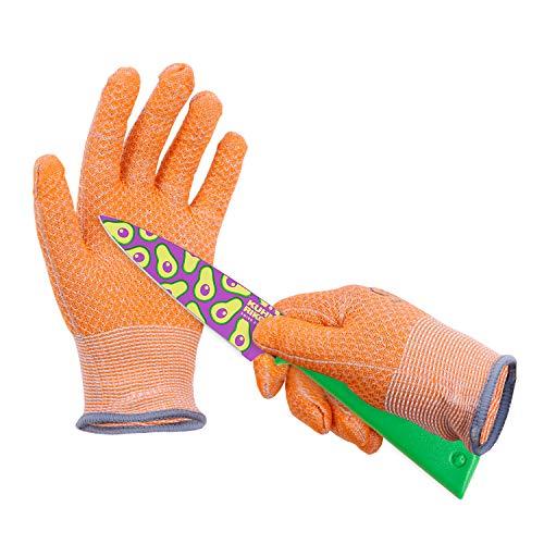 HPHST Guantes a prueba de cortes para niños, guantes de trabajo en diseño de panal A5, resistentes a los cortes, guantes de jardinería para niños de 3 a 4 años, 1 par, color naranja