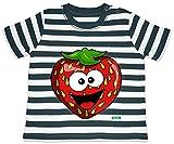 Hariz - Camiseta de manga corta para bebé, diseño de rayas y fresas azul Azul marino/blanco lavado. Talla:3-6 meses