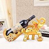 El estante del vino NaNa decoraciones del estante del vino del gabinete de decoración del hogar resina de cremallera carrito de elefante de oro tirón vino vino adornos de estilo europeo estante de cri