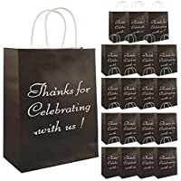 20-Pack Vadeture Thank You Paper Gift Bags with Sturdy Handles (Black)