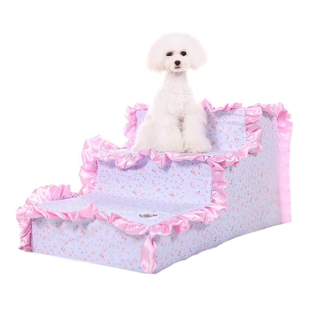 JXXDDQ Escalera de mascotas 3 Pasos para un pequeño Perro, un Gato, un sofá, una Estera, un escalón y una Cama Escalera (Color : Pink): Amazon.es: Hogar
