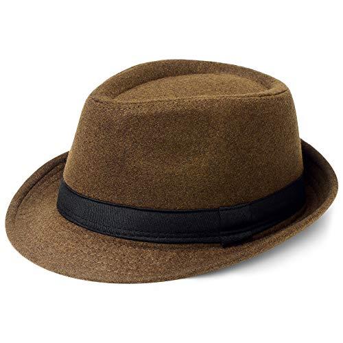 Coucoland Sombrero Panama Mafia Gangster para hombre, Fedora Trilby Bogart de los aos 20, accesorio para disfraz de Gatsby, Fieltro y caf., Talla nica