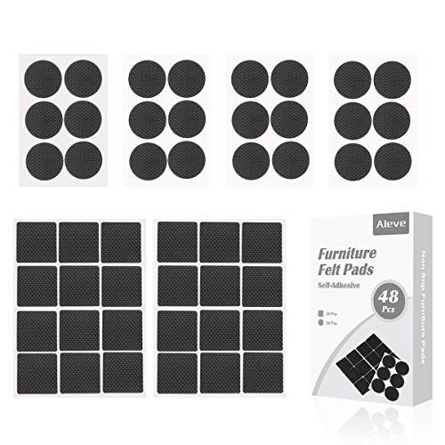 Möbel-Pad,AIEVE 48 Stück Selbstklebende Möbel Pads Set aus Gummi Möbelgleiter-Set Möbel-Filzpads Bodengleiter Stuhlgleiter Anti-Rutsch-Pads für Stuhlbeine Esstisch Parkett(Rund und Eckig Form)