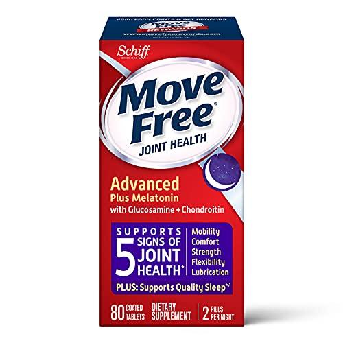 Glucosamine & Chondroitin + Melotonin Tablets, Move Free Ultra Plus Melatonin (80 Count In A Box),...
