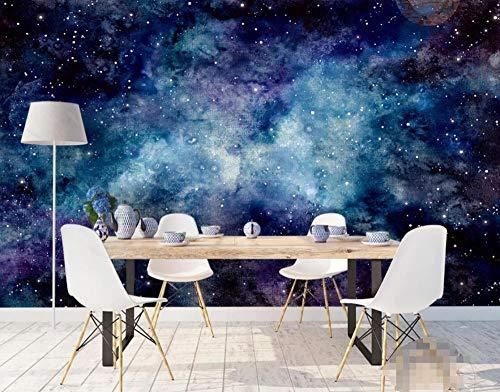 Carta Da Parati Muro 3D Cielo Stellato Dell\'Universo Porpora Blu Astratto Dipinto A Mano Della Nebulosa Fotomurali Murale 3D Moderni