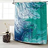 Seasonwood Teal Green Abstract Marble Shower Curtain Set with 12 Hooks Aqua Blue Ink Texture Pattern Gold Powder Bathroom Bathtubs Decor Easy Care Waterproof Washable Durable Polyester Fabric 72'x72'