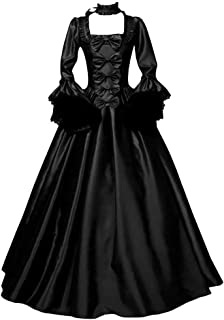 Women's Halloween Costume Vintage Retro Gothic Long Gown Dresses Swing Party Dress