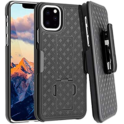 Fingic iPhone 11 Pro Max Case, iPhone 11 Pro Max Belt Clip Holster Case Slim Combo Shell with Kickstand Swivel Belt Clip Holster Rugged Protective Cover for Apple iPhone 11 Pro Max 6.5 inch - Black