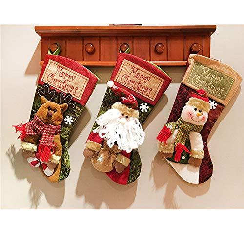 BLUER Christmas Decorations Stocking Santa Claus, Reindeer and Snowman Candy Socks Large Christmas Decorations Candy Socks Christmas Decoration Gift Bag Xmas Present Socks Rudolf (Santa Claus)