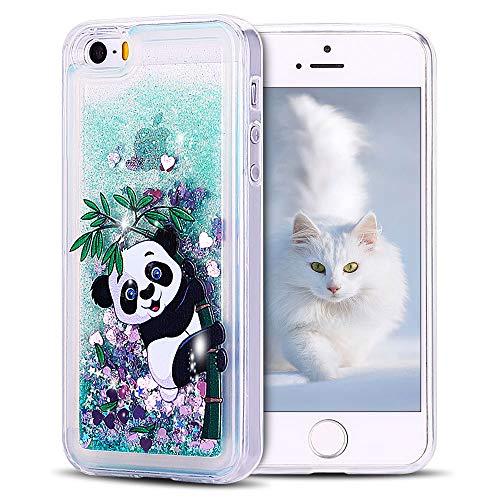 SpiritSun Funda iPhone 5 / 5S Carcasa iPhone 5 / 5S / SE, Transparente Líquido Bumper Tapa Silicona Case Flexible Gel TPU Bling Suave Protectora Caso [Shock-Absorción] Verde - Panda