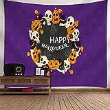 AF Halloween Tapestry Ghost Town Zombies Cabeza craneal Calabaza Lámpara Tapiz Hogar Dormitorio Dormitorio Cocina Decoración 150x130cm (60'X 51') (Color : D)