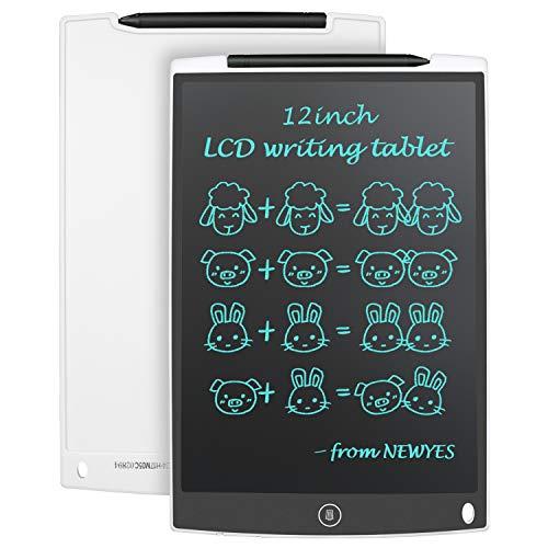 """NEWYES 12"""" Tableta de Escritura LCD, Tableta gráfica, Ideal para hogar, Escuela u Oficina. Pilas Incluidas y 2 Imanes para la Nevera (Blanco)"""