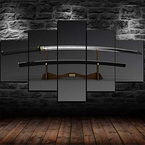 IMXBTQA Impresión En Lienzo 5 Piezas Cuadro sobre Lienzo,5 Piezas Cuadro En Lienzo,5 Piezas Lienzo Decorativo,5 Piezas Lienzo Pintura Mural,Regalo,Decoración Hogareña Espada Japonesa Katana Blade