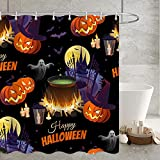 YZundYL Halloween Thema Duschvorhang Spinne Fledermaus Schädel Orange Kürbis Print Wasserdichtes Gewebe Badewannenvorhänge Sets mit Haken(180*180)