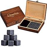 Queta Whisky Steine, basaltt-kühlsteine für Drinks, exquisiter basaltt Whisky Steine in Holzkisten im westlichen Stil Wird für Eisgetränke und Alkohol verwendet (mit FDA LFGB SGS-Zertifizierung).