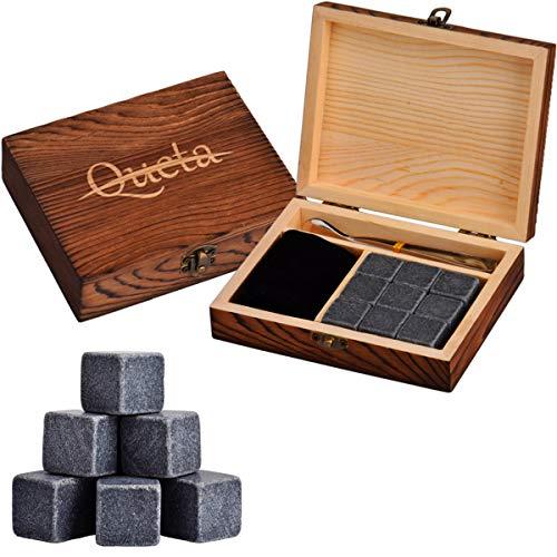 Le pietre di whisky, le pietre di raffreddamento di basalto e le raffinate pietre di whisky in scatole di legno in stile occidentale vengono utilizzate per bevande e vino congelati.