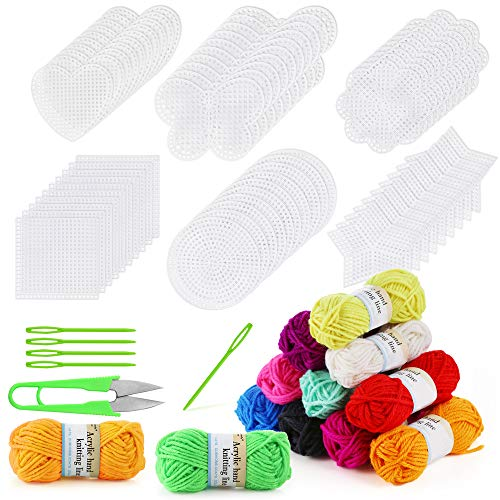 Pllieay 60 Pieces Mesh Plastic Canvas Kit Including 6 Shapes 3 Inch Clear Plastic Canvas, 12 Colors Acrylic Yarn and Tools for Embroidery Plastic Canvas Craft, Knit and Crochet Projects